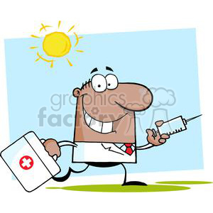 2909-African-American-Doctor-Running-With-A-Syringe-And-Bag clipart. Royalty-free image # 380564