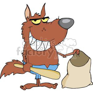 3218-Smiled-Werewolf-Holding-Club-And-Bag clipart. Royalty-free image # 380573