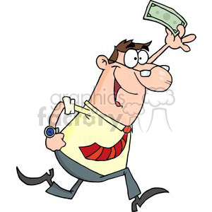 3174-Happy-Businessman-Running-With-Dollar-In-Hand clipart. Commercial use image # 380588