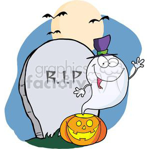 3229-Ghost-Waving-From-Pumpkin-Near-Tombstone-And-Bats clipart. Royalty-free image # 380593