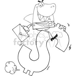 3287-Successful-Business-Shark-Businessman-Riding-On-A-Dollar-Symbol clipart. Commercial use image # 380598
