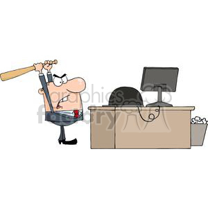 3312-Angry-Businessman-With-Baseball-Bat-In-Office clipart. Royalty-free image # 380608