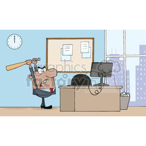 3315-Angry-African-American-Businessman-With-Baseball-Bat-In-Office clipart. Royalty-free image # 380613