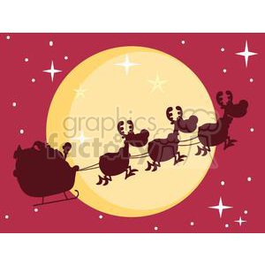 3140-Black-Silhouette-Of-Santa-And-A-Reindeers-Flying-In-A-Sleigh clipart. Commercial use image # 380618