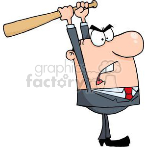 3307-Angry-Businessman-With-Baseball-Bat clipart. Commercial use image # 380623
