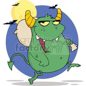3134-Happy-Monster-Runs-With-Bag clipart. Royalty-free image # 380643