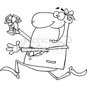 3150-Happy-Businessman-Running-With-Dollars-In-Hand clipart. Commercial use image # 380658