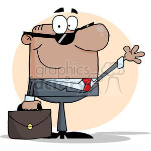 businessman waving while holding his breifcase clipart. Royalty-free image # 380698