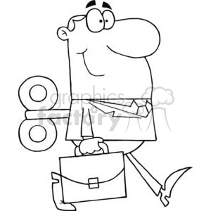 black and white wind up guy clipart. Royalty-free image # 380713