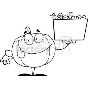 3205-Happy-Pumpkin-Character-Holding-Up-A-Tub-Of-Candy clipart. Royalty-free image # 380718