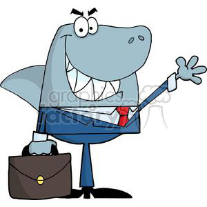 3269-Business-Shark-Waving-A-Greeting clipart. Royalty-free image # 380723