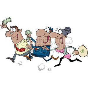 crowd of people running with money clipart. Royalty-free image # 380733