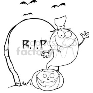 3227-Ghost-Waving-From-Pumpkin-Near-Tombstone-And-Bats clipart. Royalty-free image # 380743