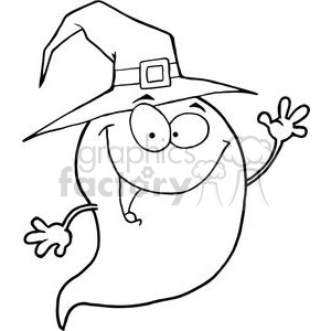 Happy Halloween ghost wearing a witch hat clipart. Commercial use image # 380753