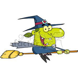 witch riding her broom clipart. Commercial use image # 380758