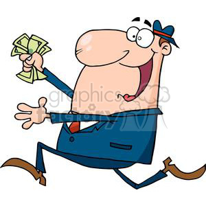 3151-Happy-Businessman-Running-With-Dollars-In-Hand clipart. Commercial use image # 380773