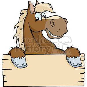 3363-Happy-Cartoon-Horse-With-A-Blank-Sign