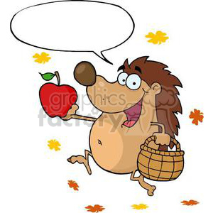 cartoon Hedgehog holding an apple clipart. Commercial use image # 380829