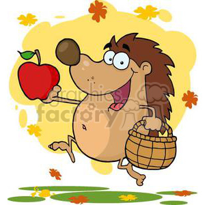 3383-Happy-Hedgehog-Runs-With-Apple clipart. Royalty-free image # 380839