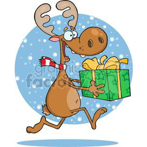 3332-Happy-Reindeer-Runs-With-Gift clipart. Commercial use image # 380849