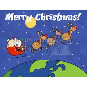 3345-Team-Of-Reindeer-And-Santa-In-His-Sleigh-Flying-Above-The-Globe clipart. Commercial use image # 380859