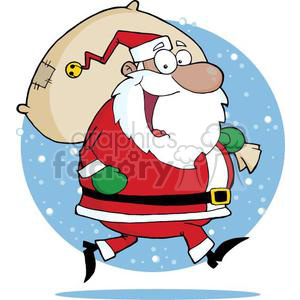 big happy Santa Claus delivering gifts clipart. Royalty-free image # 380864