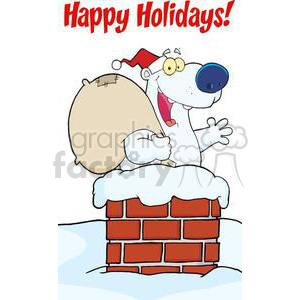 3442-Happy-Santa-Polar-Bear-Waving-A-Greeting-In-Chimney-With-Speech-Bubble clipart. Commercial use image # 380874