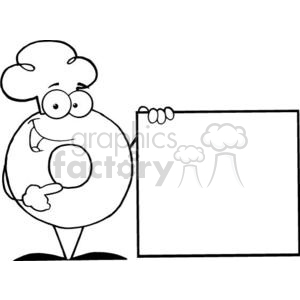 3474-Friendly-Donut-Cartoon-Character-Presenting-A-Blank-Sign clipart. Commercial use image # 380889