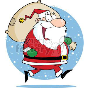 3327-Happy-Santa-Claus-Runs-With-Bag clipart. Royalty-free image # 380899