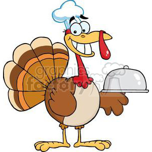 3507-Happy-Turkey-Chef-Serving-A-Platter clipart. Royalty-free image # 380904