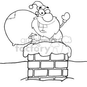 3397-Santa-Claus-In-Chimney clipart. Commercial use image # 380909