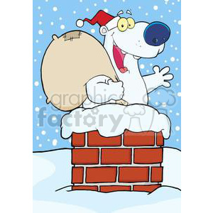 3443-Happy-Santa-Polar-Bear-Waving-A-Greeting-In-Chimney clipart. Commercial use image # 380924