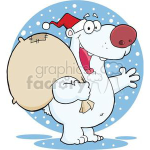 3434-Happy-Santa-Polar-Bear-Waving-A-Greeting-In-The-Snow clipart. Royalty-free image # 380929