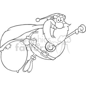 3404-Super-Santa-Claus-Fly clipart. Royalty-free image # 380934