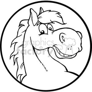 black and white horse head clipart. Royalty-free image # 380944