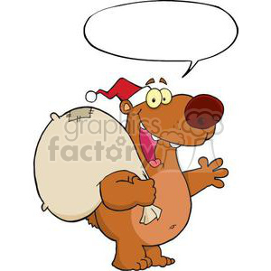 3419-Happy-Santa-Bear-Waving-A-Greeting-With-Speech-Bubble clipart. Royalty-free image # 380954