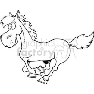 black and white cartoon horse