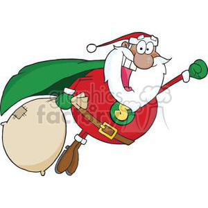 cartoon funny Holidays vector Christmas Xmas Santa Claus super hero delivering delivery express gift gifts presents