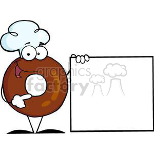 3475-Friendly-Donut-Cartoon-Character-Presenting-A-Blank-Sign clipart. Royalty-free image # 380984