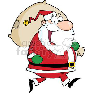 3326-Happy-Santa-Claus-Runs-With-Bag clipart. Royalty-free image # 380989