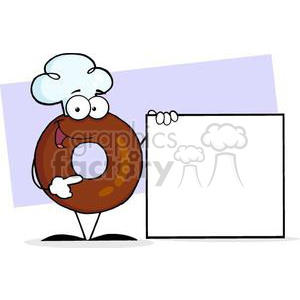 3476-Friendly-Donut-Cartoon-Character-Presenting-A-Blank-Sign clipart. Royalty-free image # 380994