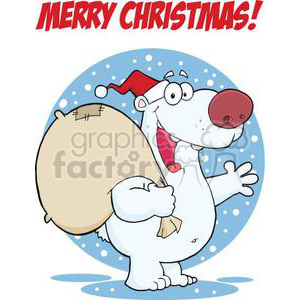 3435-Happy-Santa-Polar-Bear-Waving-A-Greeting-In-The-Snow clipart. Commercial use image # 380999