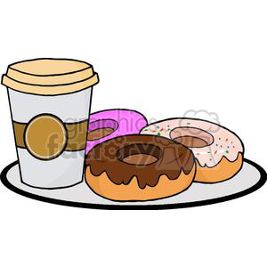 3488-Coffe-Cup-With-Donut clipart. Commercial use image # 381004