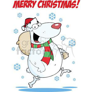 3324-Happy-Santa-Bear-Runs-With-Bag-In-The-Snow clipart. Royalty-free image # 381009