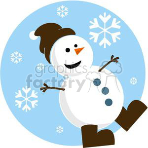 snowman with brown hat and brown skates clipart. Commercial use image # 381029