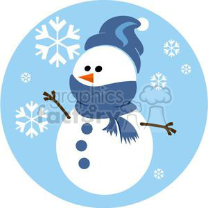 snowman with blue scarf and hat clipart. Royalty-free image # 381044