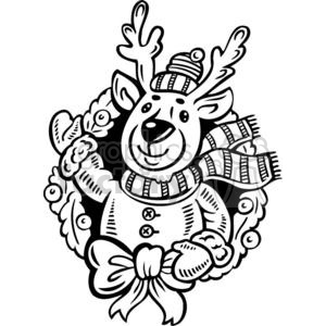 Christmas Xmas Holidays Happy Festive Black White cute funny cartoon vector royalty-free reindeer reindeers winter wreath deer deers