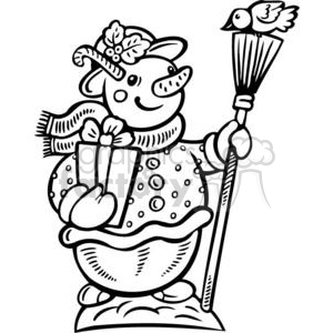 snowman holding a broom clipart. Commercial use image # 381078