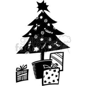 black and white Christmas tree clipart. Commercial use image # 381083