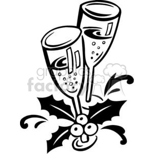 Christmas Xmas Holidays Happy Festive Black White cute funny cartoon vector royalty-free celebration celebrate drinks party champagne glasses wine cheers toast new years eve
